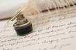 Leinwanddruck Bild - Handwriting,ink and quill pen