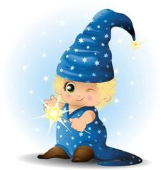 Obraz na płótnie Canvas Mago Stregone Bambino-Baby Magician Sorcerer-Vector