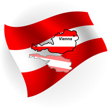 Austria Map In The Form Of The Austrian Flag.Vector Illustration