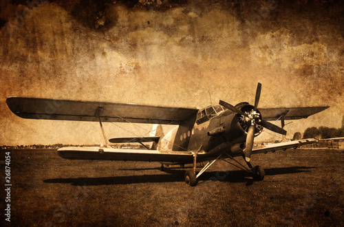 Naklejka premium stary samolot - dwupłatowiec