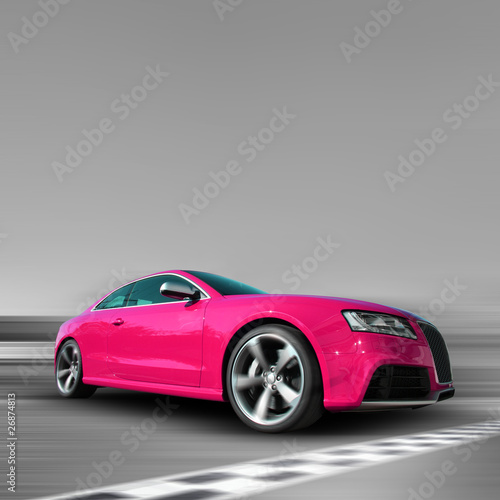 Fotobehang Snelle auto s Pinkes Auto