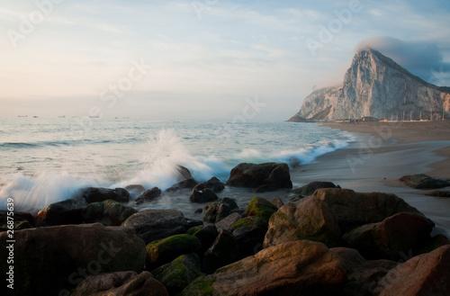 Poster Marron chocolat Crashing Waves of Gibraltar