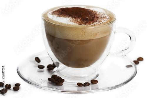 Fotografie, Obraz  cappuccino mit schokopulver und kaffeebohnen in einer glastasse