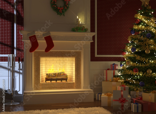 Photo  Cousy fireplace decorated for christmas