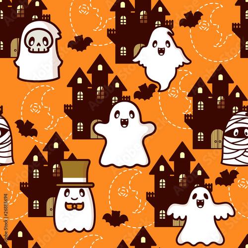 Cotton fabric Halloween Castle Ghost
