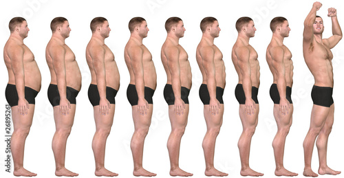 Fotografie, Obraz  Fat to Fit Before After 3D Man Weight Loss Success