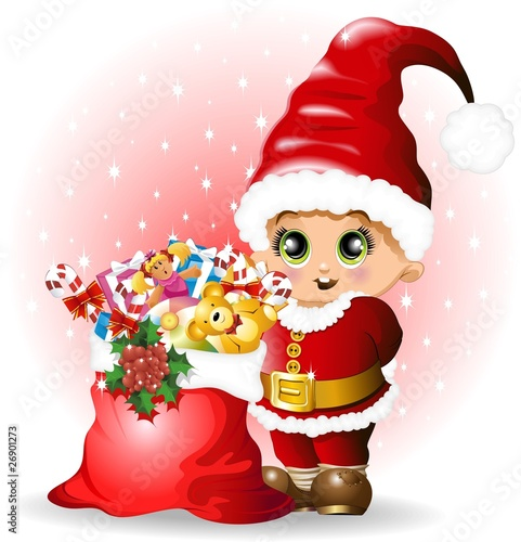 Poster Fairies and elves Babbo Natale Bambino con Regali-Baby Santa Claus and Toys-Vector