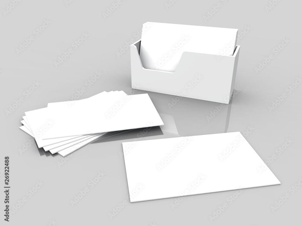 Blanko Visitenkarten Weiß Auf Grau Foto Poster Wandbilder