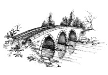 Stone Bridge Over River Sketch