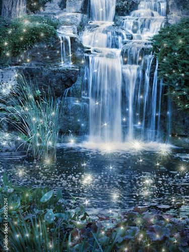Poster Watervallen Magic night waterfall scene