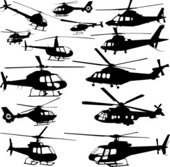 Fototapeta helicopters collection - vector