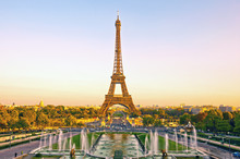 View Of Eiffel Tower At Sunset In Paris, France