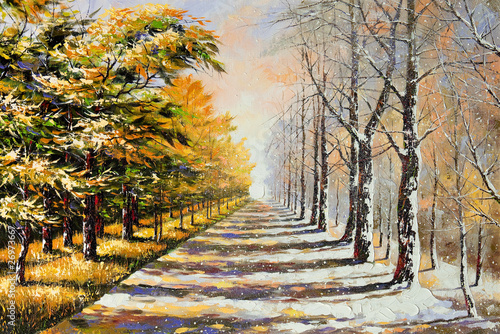 Fotomural Allegory on theme winter-autumn