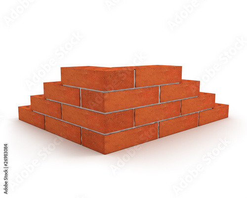 Corner of wall made from orange bricks isolated on white Fototapet