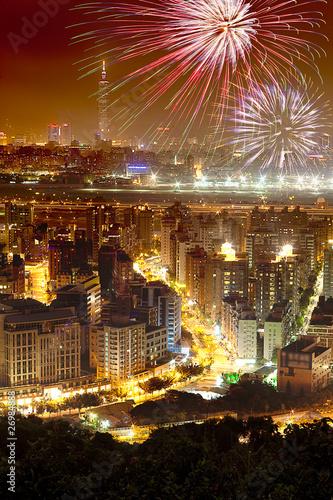 Keuken foto achterwand Havana Fireworks of Taipei city