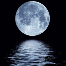 Night Full Moon Over Water Landscape