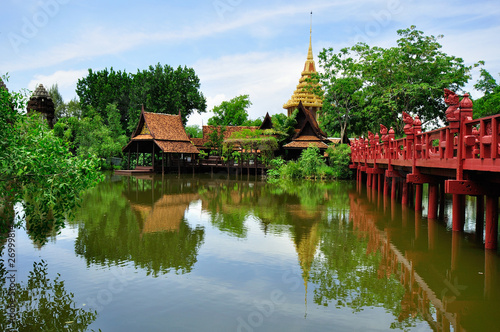Traditional Thai wooden house in Bangkok Canvas Print