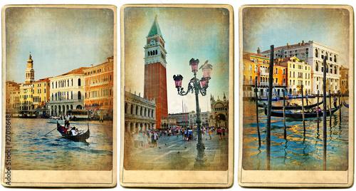 Stickers pour porte Venise beautiful romantic Venice- retro cards