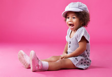 Stylish Little Girl Playing Up