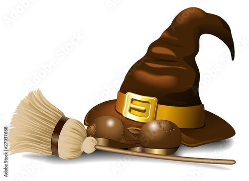 Photo sur Aluminium Draw Cappello di Strega e Scopa-Witch Hat with Broom-Vector