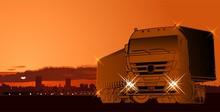 Vector Semi-truck At Sunset