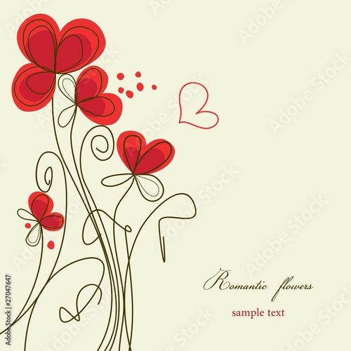 Poster Abstract bloemen Romantic floral background
