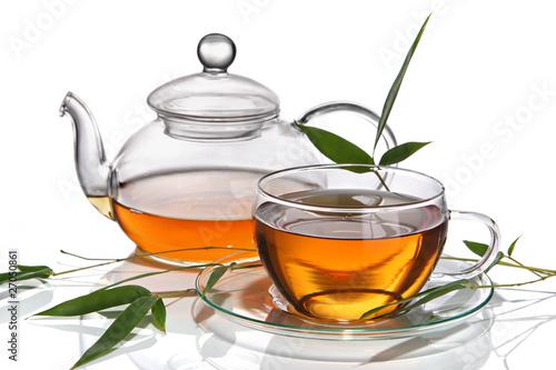 Staande foto Thee Cup of tea with teapot