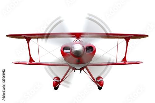 Red biplane flying isolated Wallpaper Mural