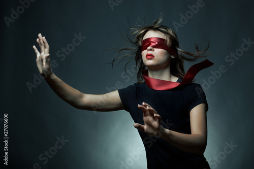 Portrait of the young woman blindfold Wallpaper Mural