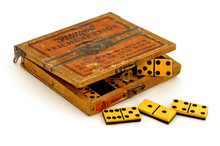 Antique Dominoes On White Background
