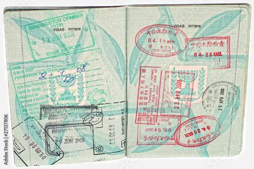 Israeli Open Passport With Stamps