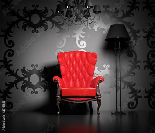Keuken foto achterwand Rood, zwart, wit vintage interior