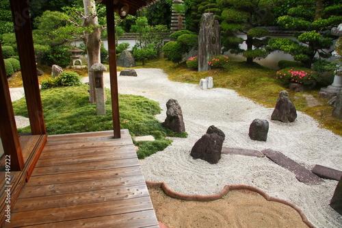 Poster Zen pierres a sable Jardin sec japonais