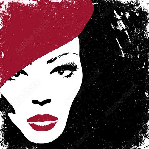 Poster Portrait Aquarelle Woman image in retro style, fashion background concept