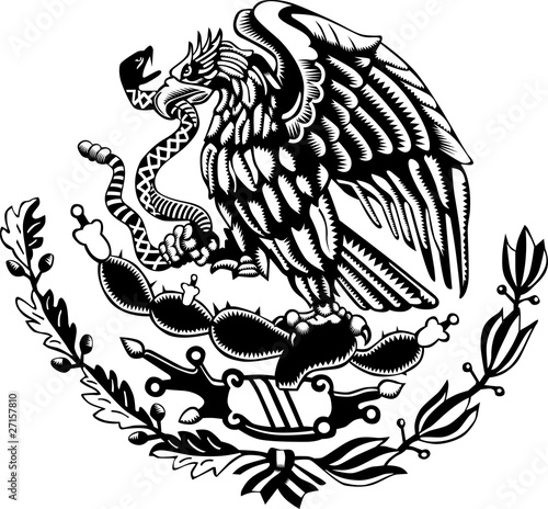 Fotografía  Carved style mexican coat of arms