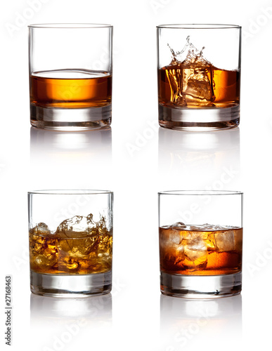 Fotografie, Obraz  Glass of scotch whiskey and ice  on a white background