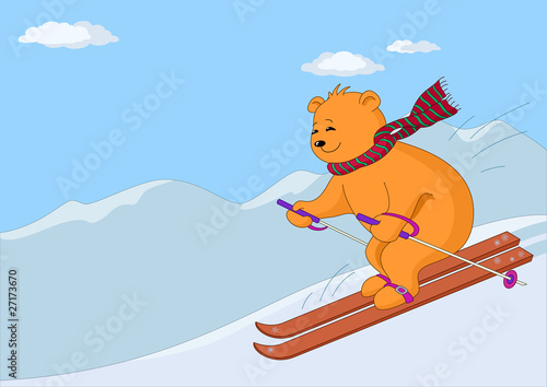 Poster Ours Teddy-bear skies in mountains day