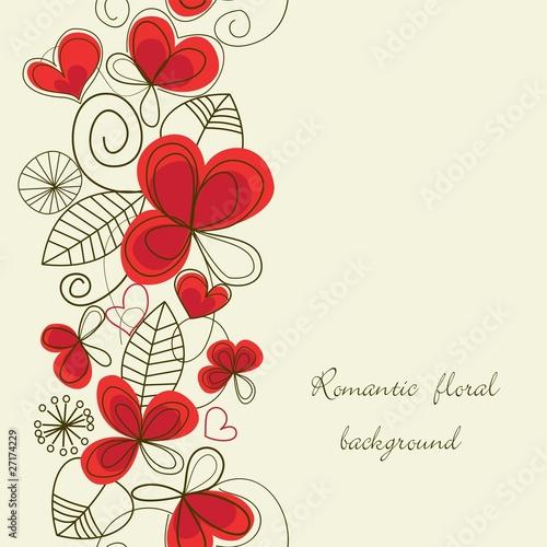 Poster Abstract bloemen Flower love seamless background