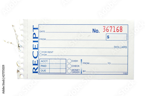 blank generic paper receipt on white buy this stock photo and