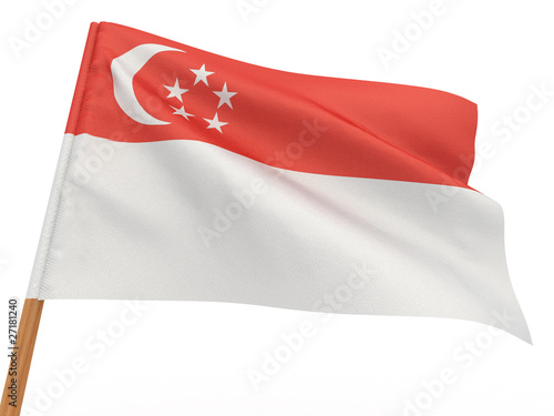 Photo  flag fluttering in the wind. Singapore