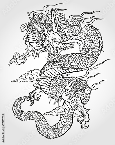 Fotografie, Tablou  Asian Dragon Tattoo