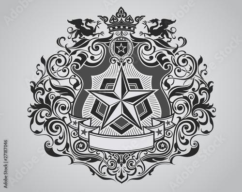 Fotografia, Obraz  Ornate Shield Crest Design