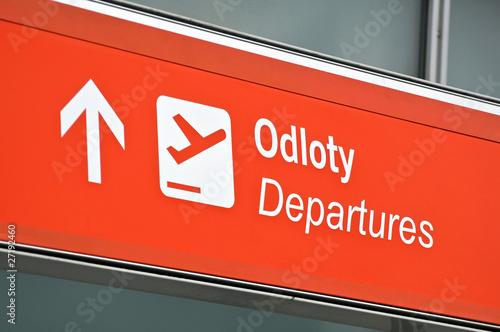Foto op Aluminium Luchthaven Airport departure sign.