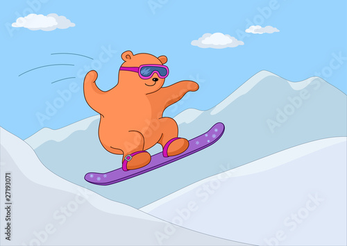 Wall Murals Bears Teddy-bear on a snowboard