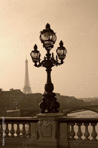 Vintage lamppost on the bridge of Alexandre III (Paris, France)