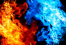 Red And Blue Fire On Balck Bac...