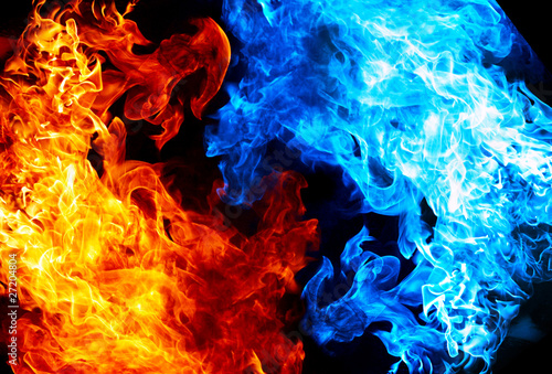 Tuinposter Vuur Red and blue fire on balck background