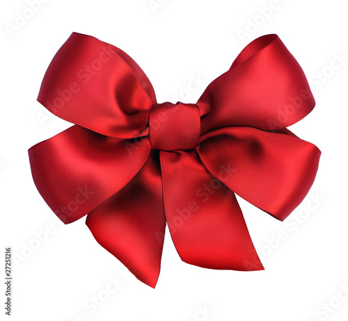 Vászonkép Red satin gift bow. Ribbon. Isolated on white