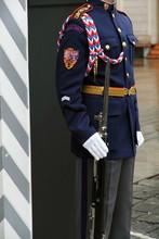 Guard Standing Castle Entrance, Prague, Czech Republi