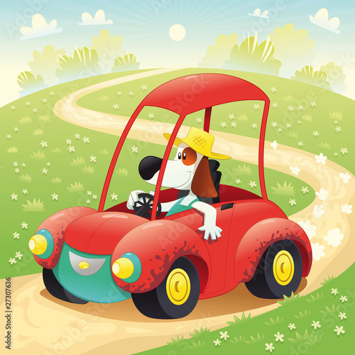 Poster Dogs Funny dog on a car. Vector illustration, isolated objects